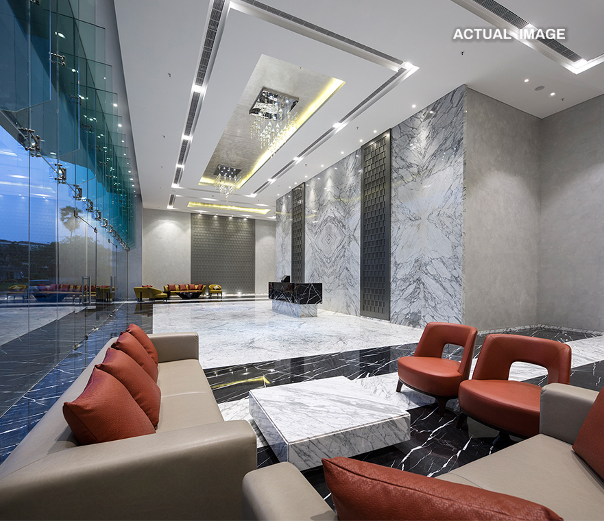 Where A Foyer Effectively Compliments Your Stature: - A 7mt High Marble Draped Entrance Lobby
