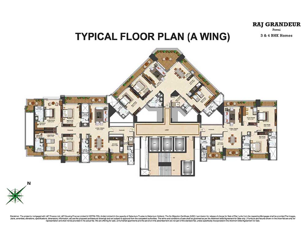 Raj Grandeur Floor Plan Wing A