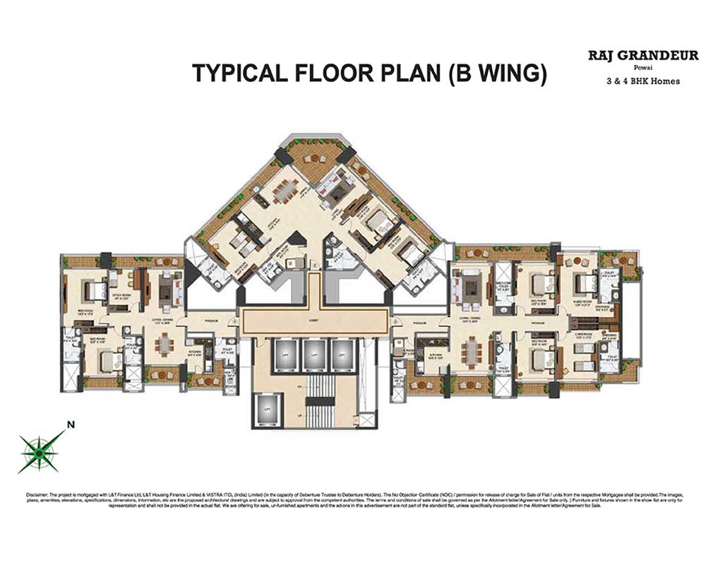 Raj Grandeur Floor Plan Wing B